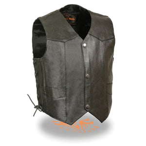 Milwaukee Leather SH2011L Kids Black Classic Side Lace Three Snap Leather Vest - Milwaukee Leather Kids Leather Vests