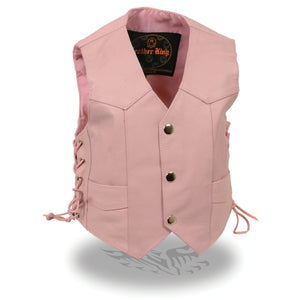 Milwaukee Leather SH2011LPNK Girls Pink Classic Three Snap Leather Vest - Milwaukee Leather Girls Leather Vets