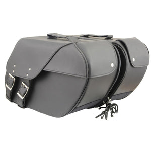 Milwaukee Leather SH669ZB Large Size Black Two Straps PVC Zip Off Throw Over Saddlebags