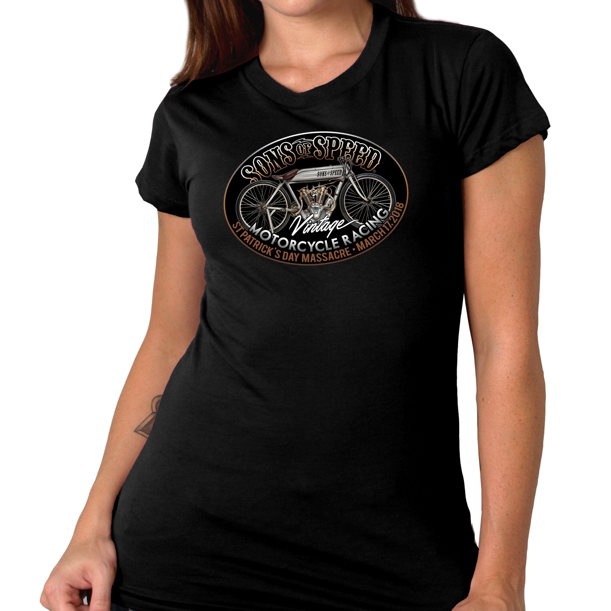 Official Sons of Speed Race Bike Ladies Black T-Shirt