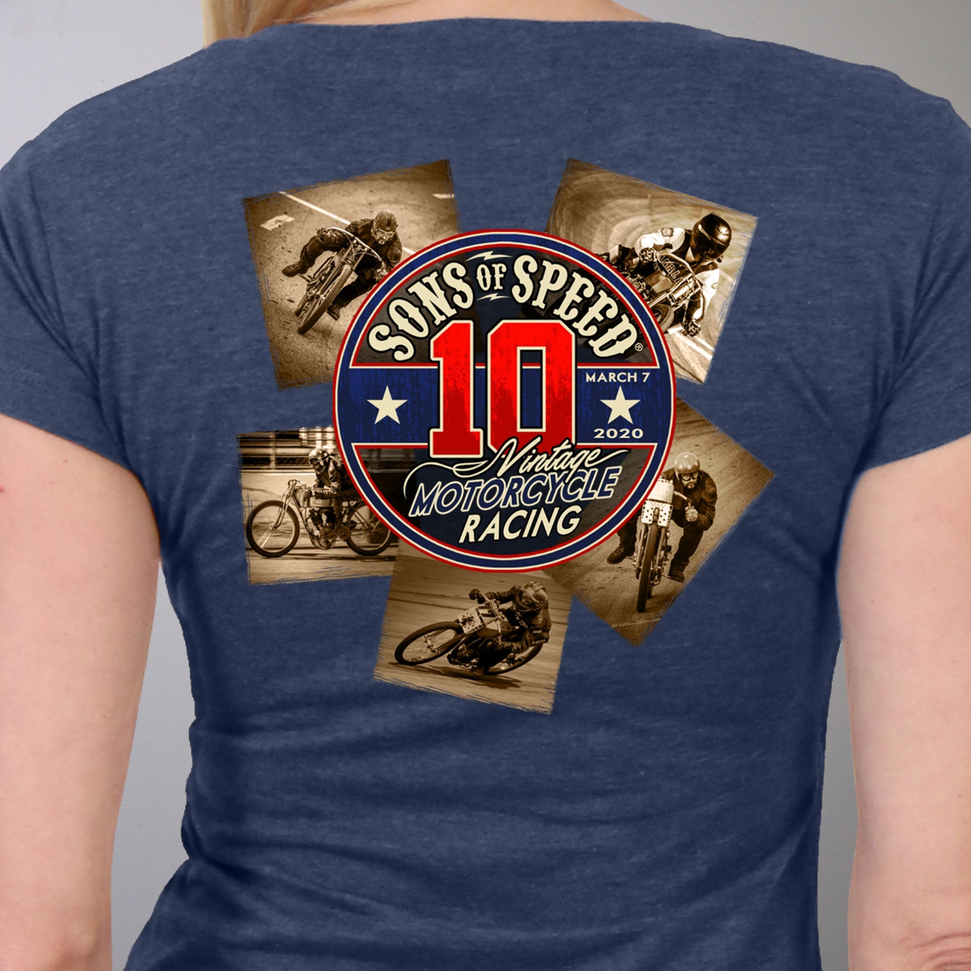 Official 2020 Sons of Speed Vintage Race Ladies Heather Denim T-Shirt