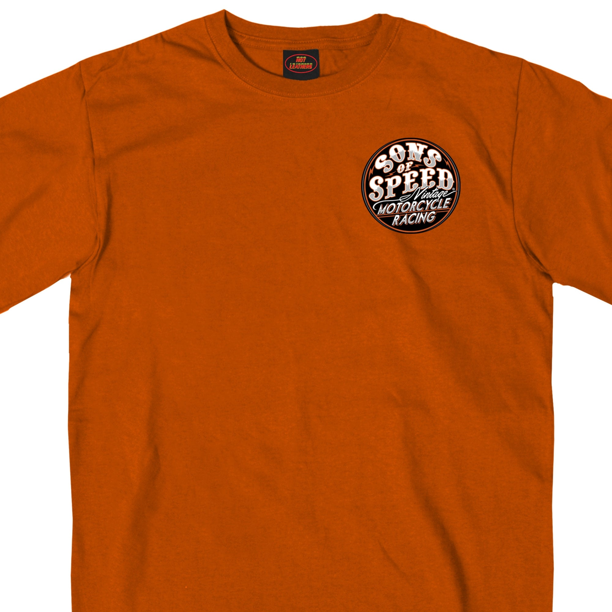 Official Sons of Speed Vintage Motorcycle Racing Texas Orange T-Shirt