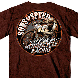 Official Sons of Speed Vintage Motorcycle Racing Russet T-Shirt