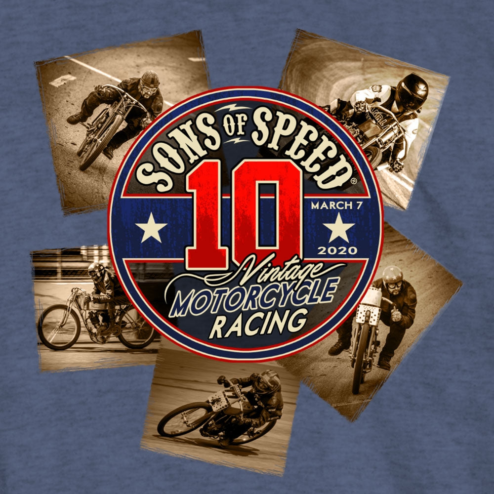 Official 2020 Sons of Speed Vintage Race Denim Heather T-Shirt