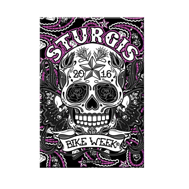 Official 2016 Sturgis Bike Week Paisley Sugar Skull Magnet