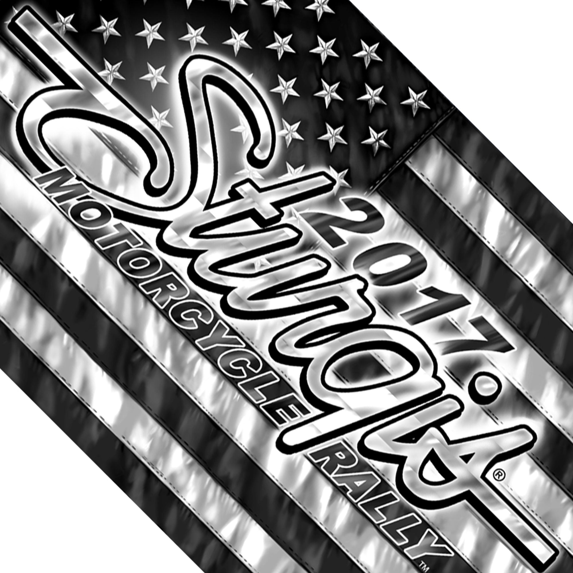 Official 2017 Sturgis Motorcycle Rally American Black and White Flag