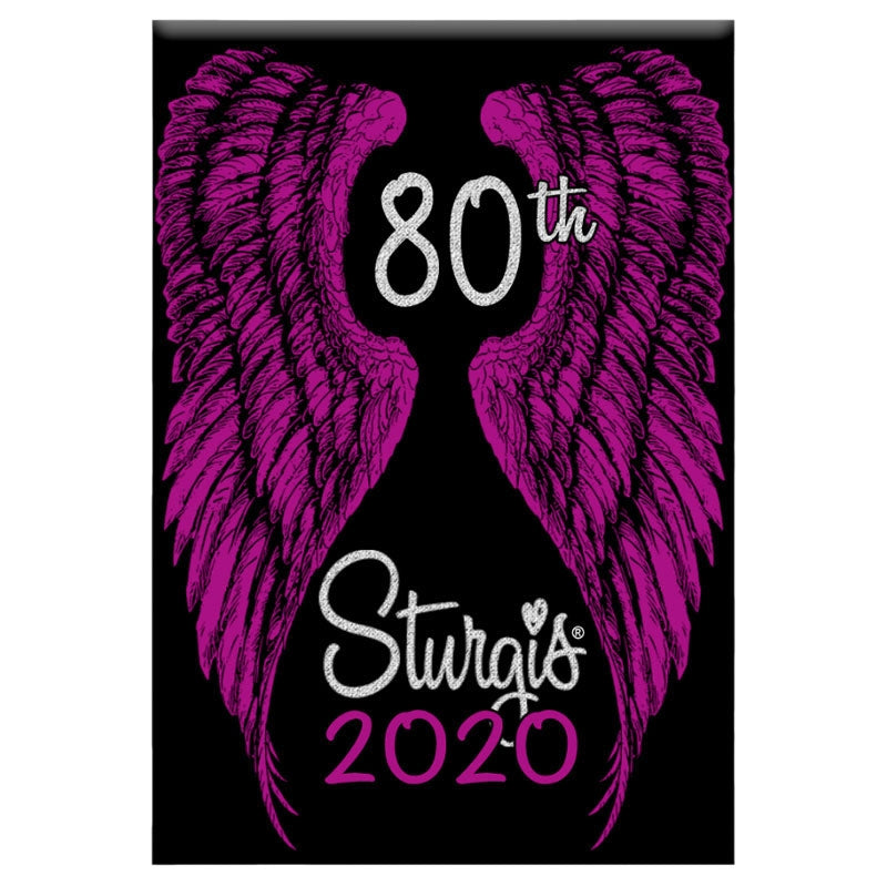 Official 2020 Sturgis Motorcycle Rally Modern Angel Wings Magnet
