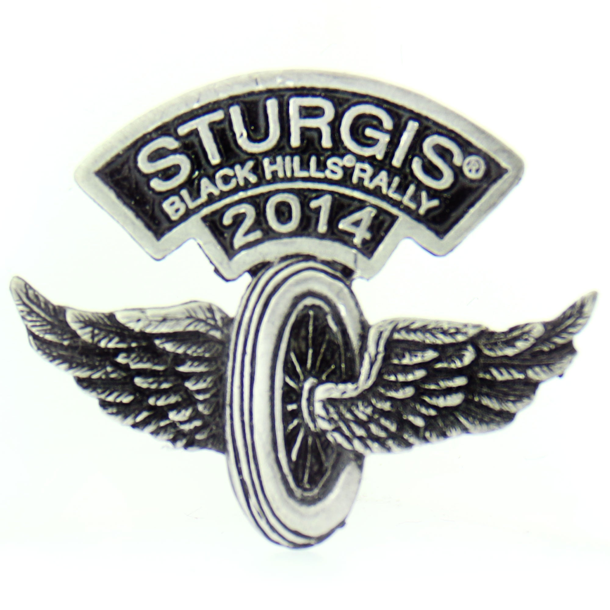Official 2014 Sturgis Motorcycle Rally Flying Wheel Pin