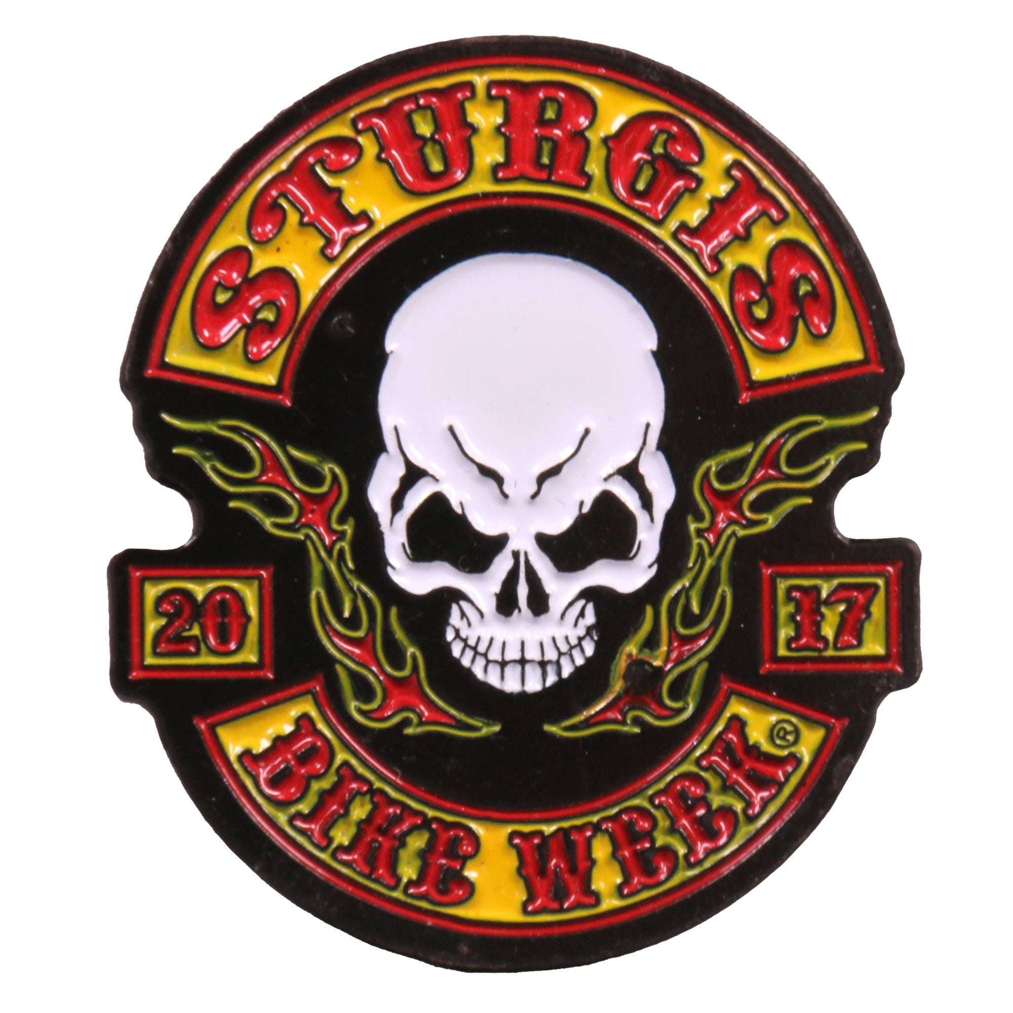 Official 2017 Sturgis Motorcycle Rally Rocker Skull Enamel Pin