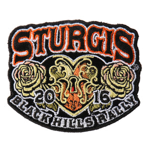 Official 2016 Sturgis Motorcycle Rally Heart Lock Patch