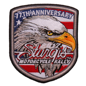 Official 2017 Sturgis Motorcycle Rally Eagle Flag Shield Patch