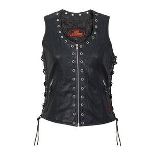 Hot Leathers Ladies Black Lambskin Vest