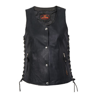Hot Leathers Ladies Black Lambskin Vest w/Side Lace