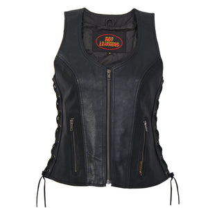 Hot Leathers Ladies Side Lace Zip Up Leather Vest