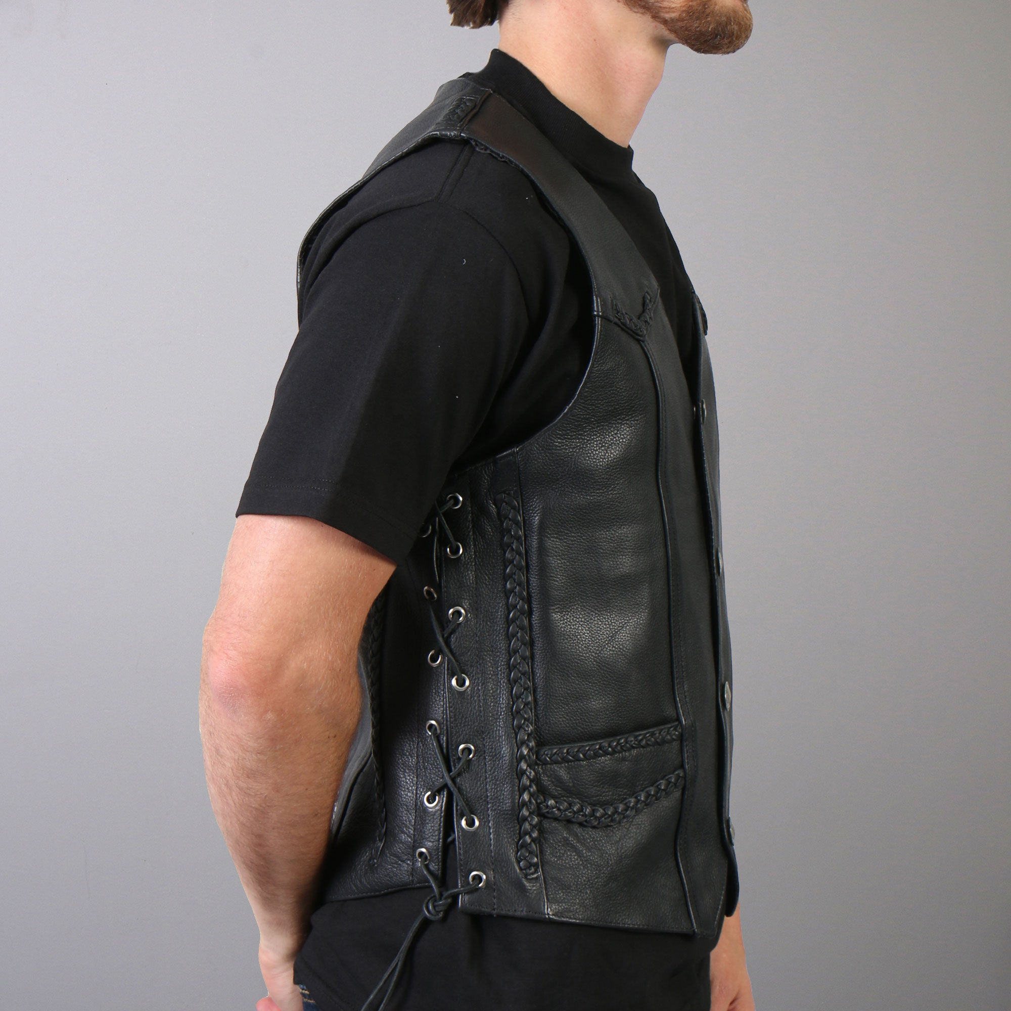 Hot Leathers Men's Buffalo Nickel Snap Leather Vest w/ Braided Detail