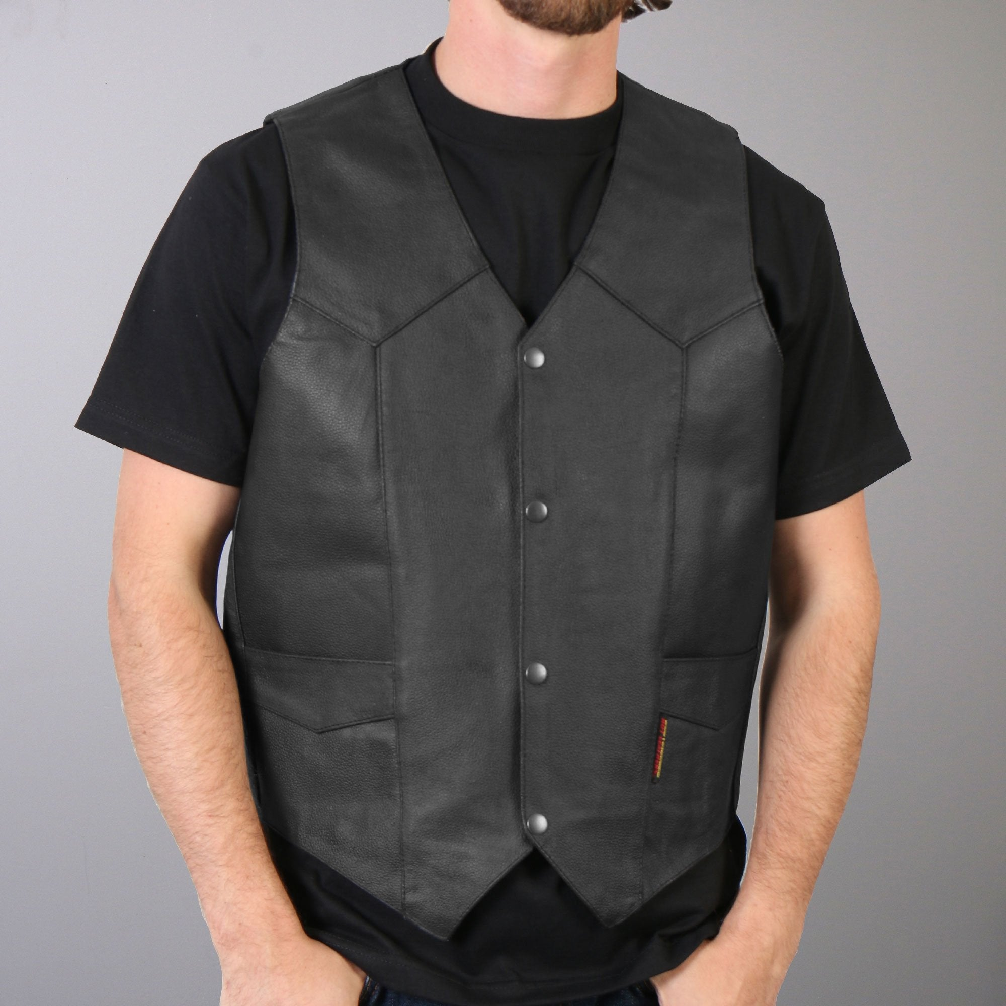 Hot Leathers Men's Heavyweight Leather Vest w/ Inside Pocket