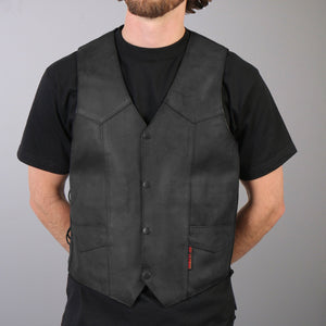 Hot Leathers Men's Heavyweight Leather Vest w/ Side Laces