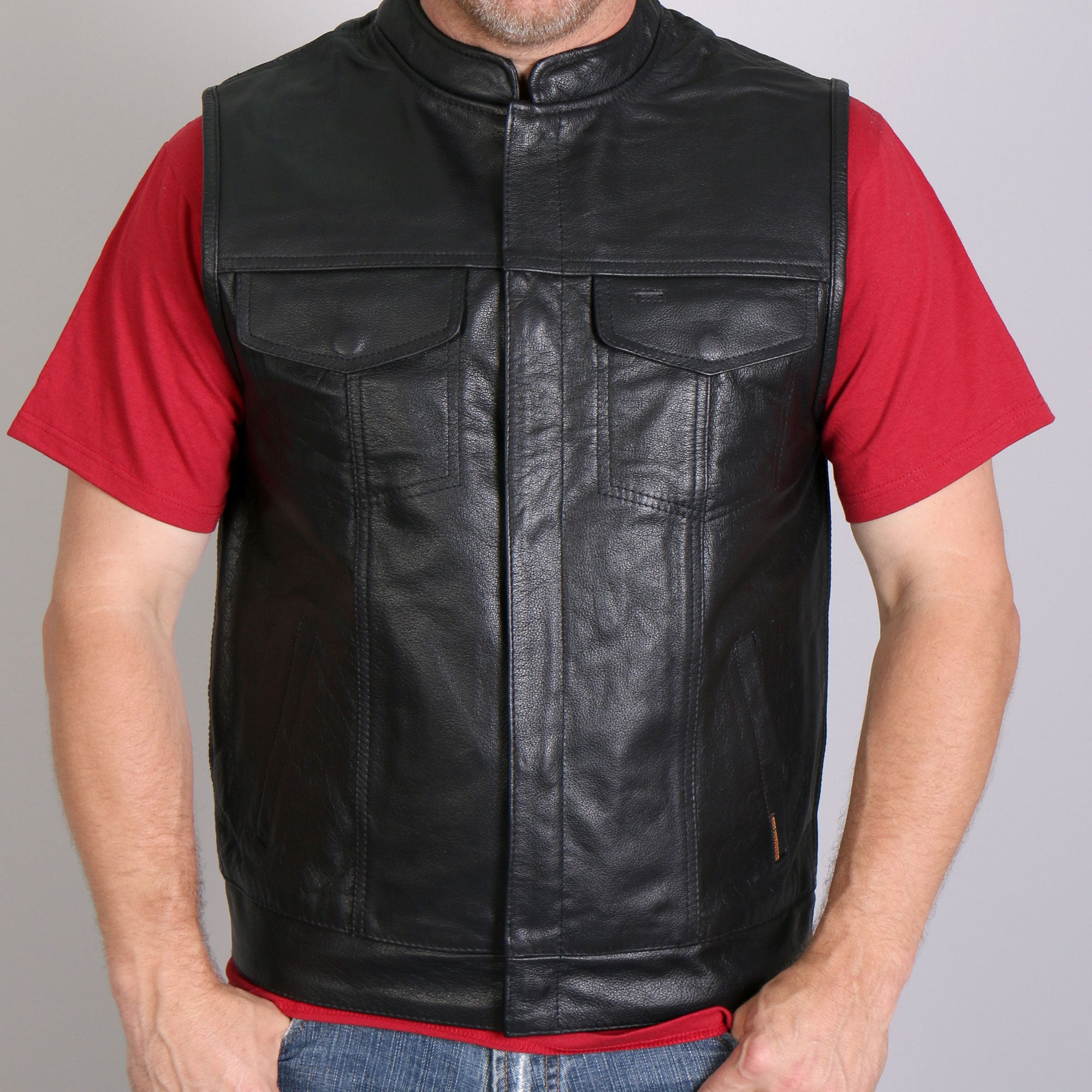 Hot Leathers Men's 10 Pocket Cowhide Leather Vest