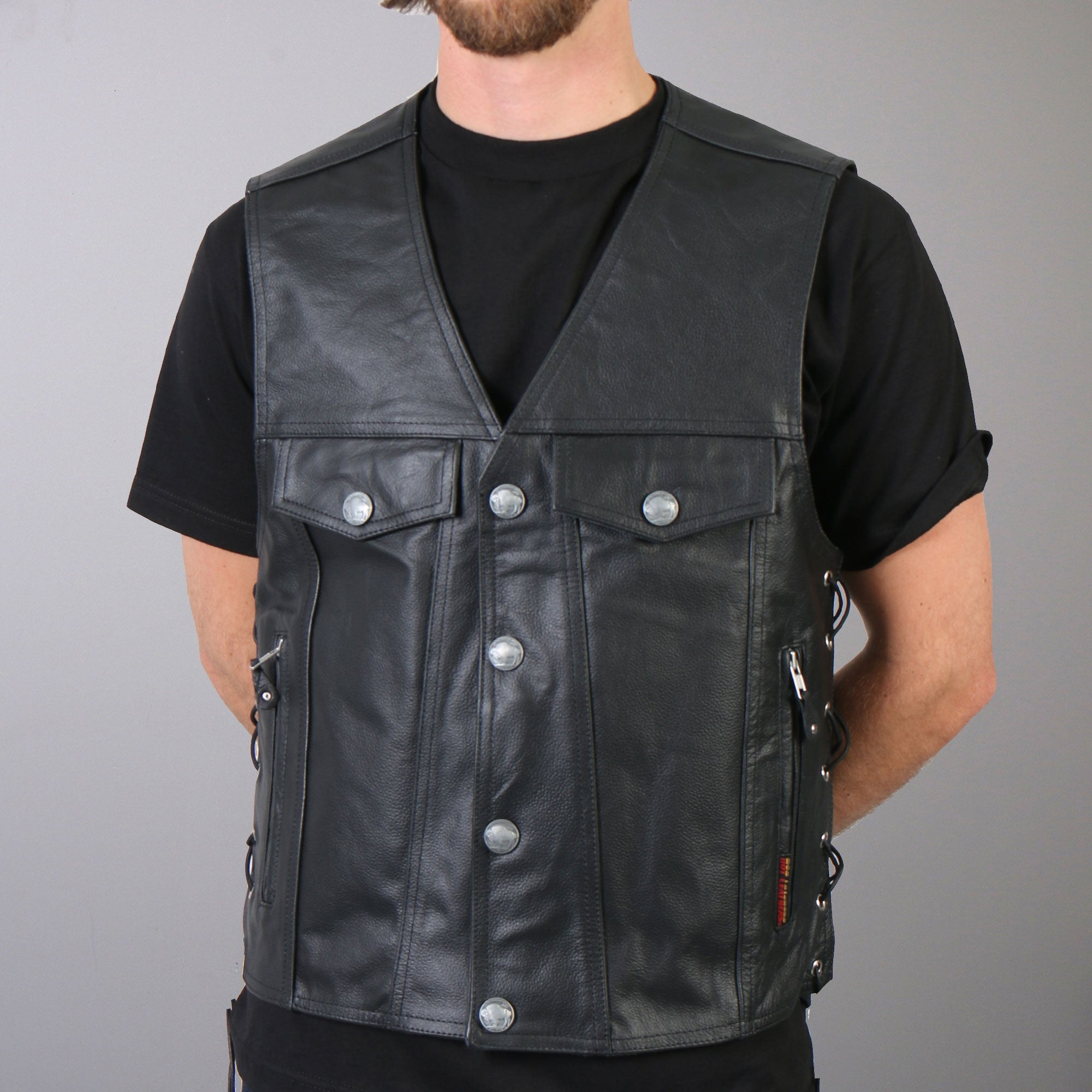 Hot Leathers Vest Men's Satin Lining 6 Pocket