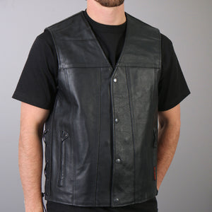 Hot Leathers Men's Concealed Carry Leather Vest w/ Lace Up Sides