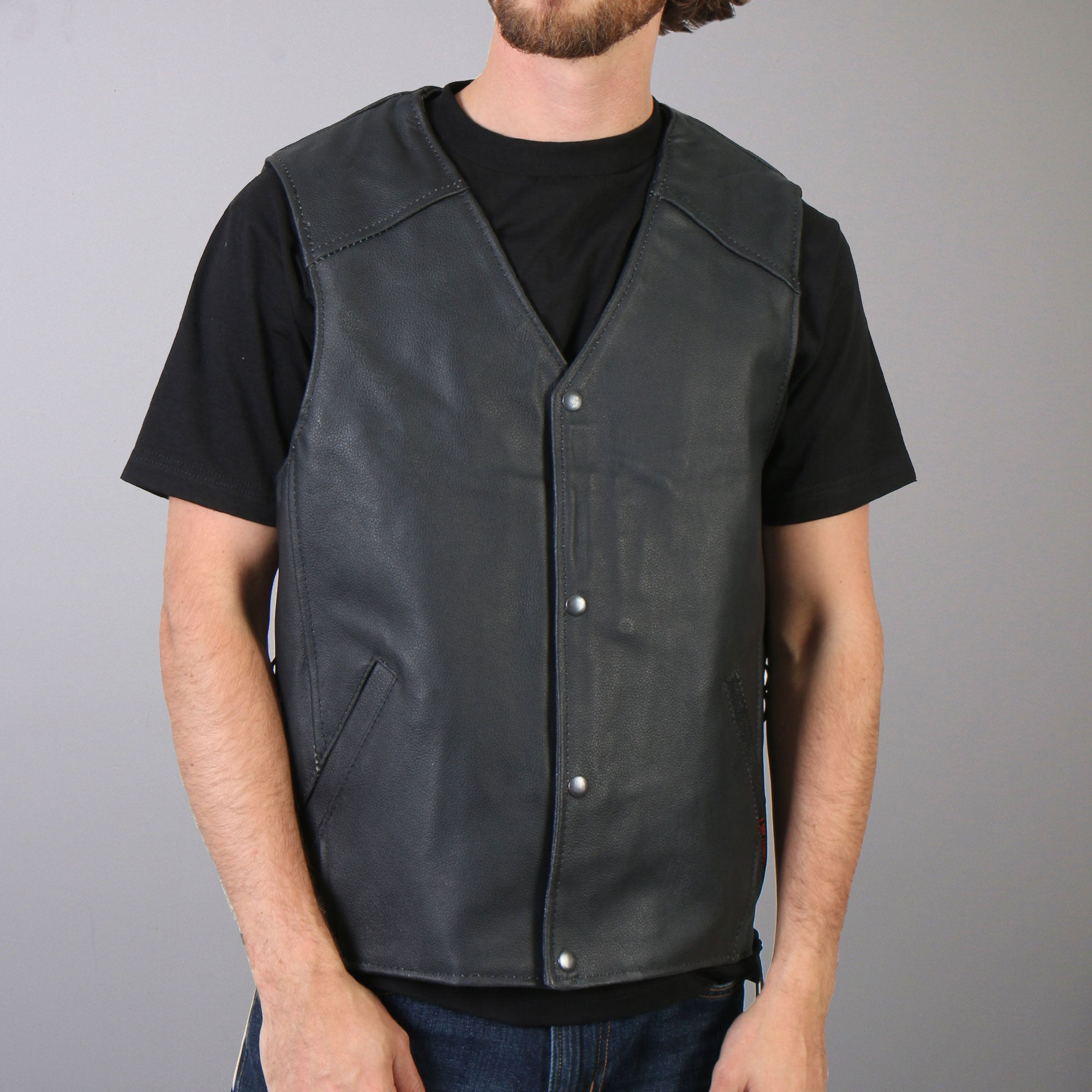 Hot Leathers Men's Concealed Carry Leather Vest w/ Side Lace