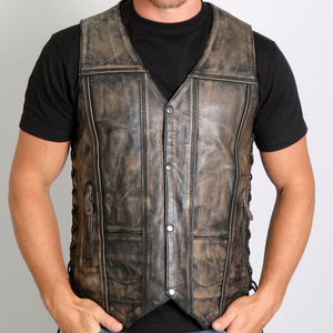 Hot Leathers Men's Distressed Brown Leather Vest w/ 2 Concealed Carry Pockets