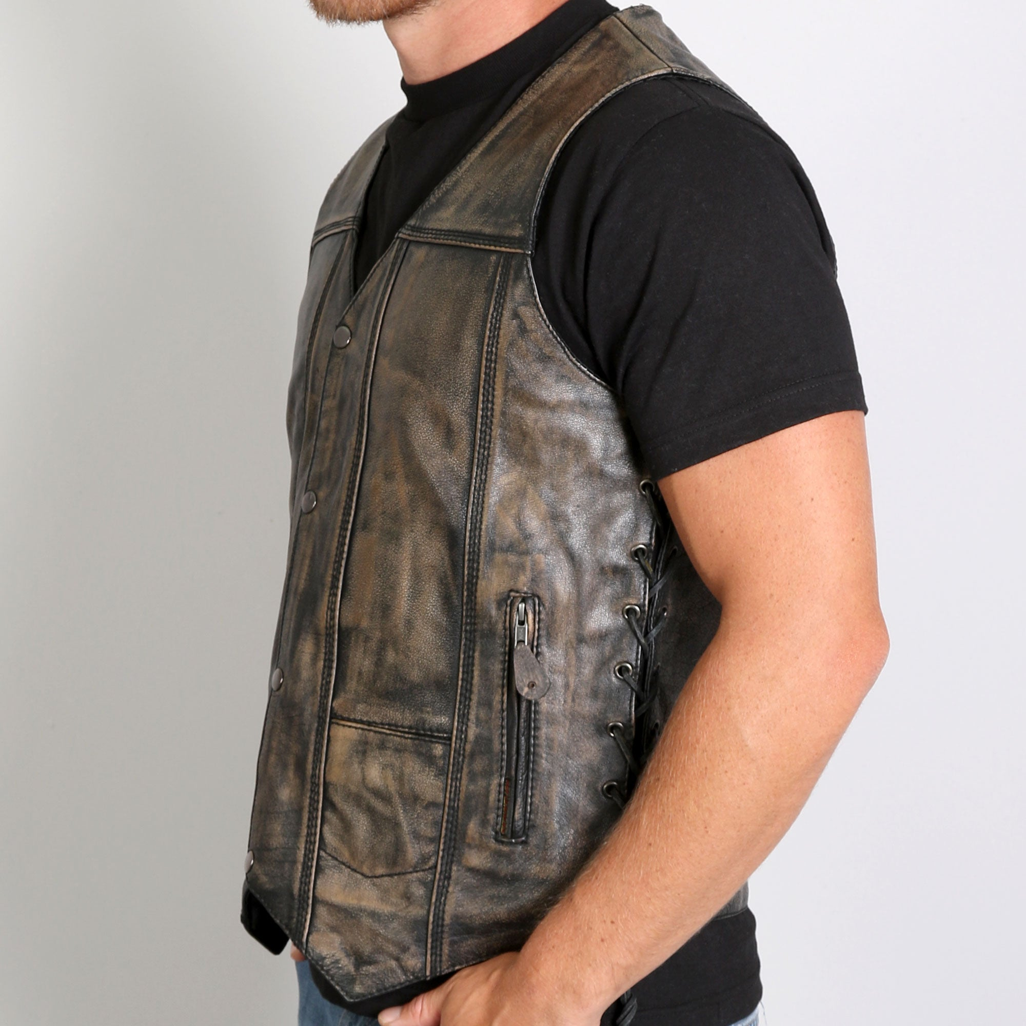 Hot Leathers Men's Heritage Collection Brown Leather Vest
