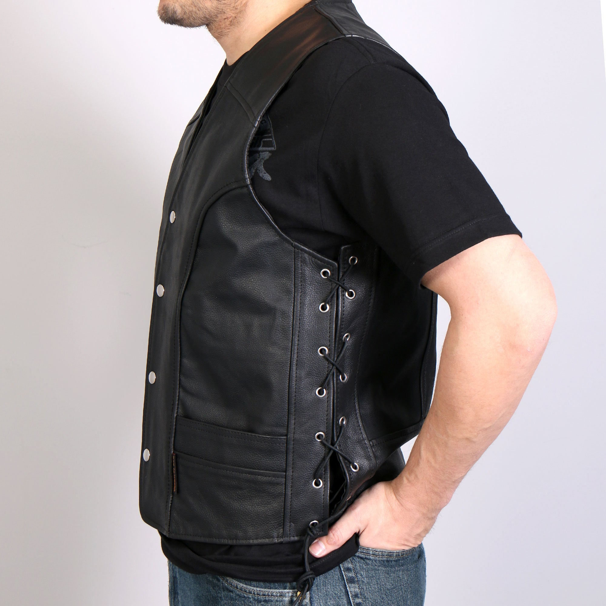 Hot Leathers Men's Leather Vest w/ Front Snaps and Side Lace