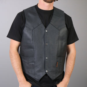 Hot Leathers Men's Cowhide Leather Vest w/ Inside Pocket