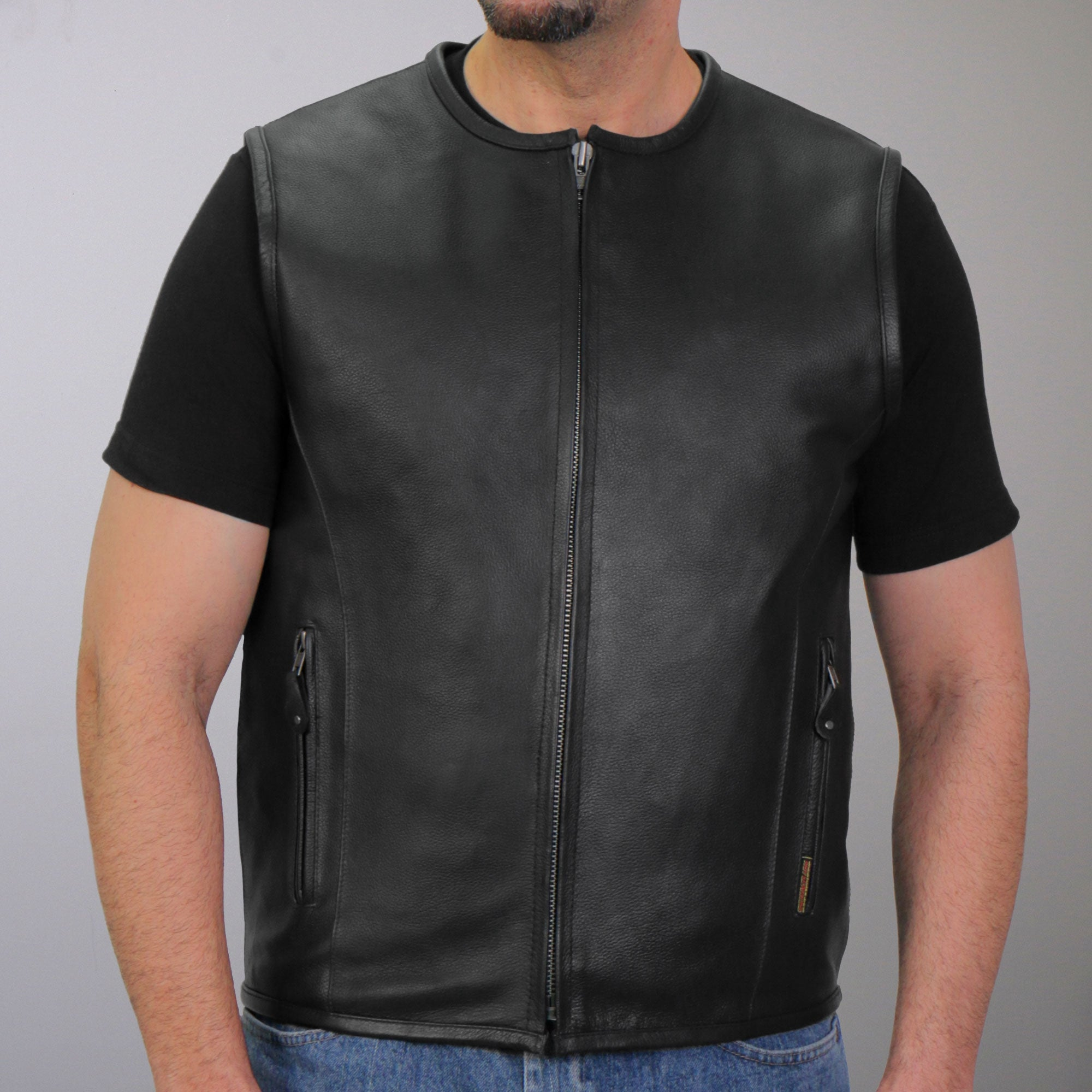 Hot Leathers Men's Leather Round Collar Vest