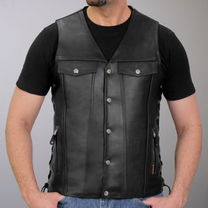 Hot Leathers Men's Leather V-Neck Club Vest