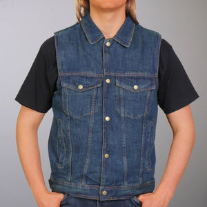 Hot Leathers Blue Denim Vest