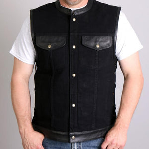 Hot Leathers Men's Black Denim and Leather Vest