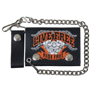 Hot Leathers Live Free Leather Wallet