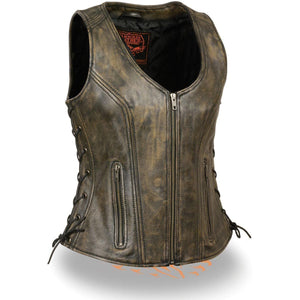 Milwaukee Leather MLL4531 Brown Women's Open Neck Side Lace Front Zipper Leather Vest with Gun Pockets - Milwaukee Leather Womens Leather Vests