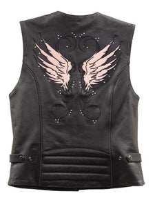 Milwaukee Leather XS1293 Ladies 'Winged' Black and Pink Studded Leather Vest