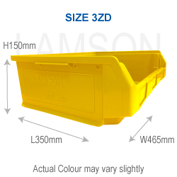 plastic storage container size 3zd yellow