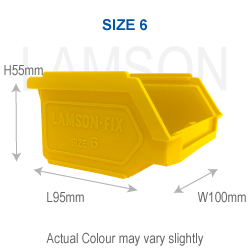 polypropylene storage bin size 6 yellow