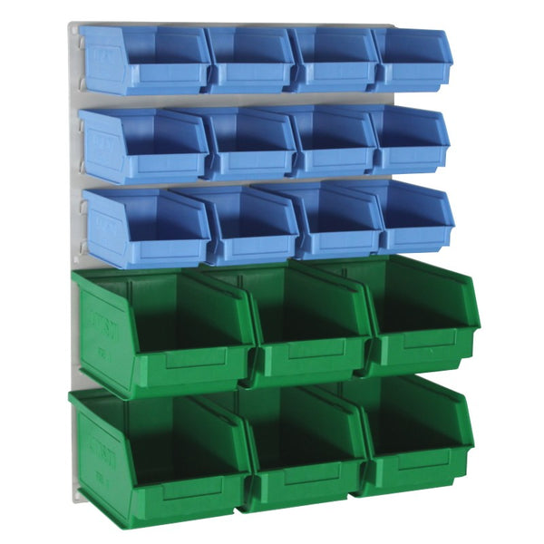 louvred wall panel with storage boxes