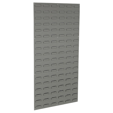 louvred panel wall with storage bins