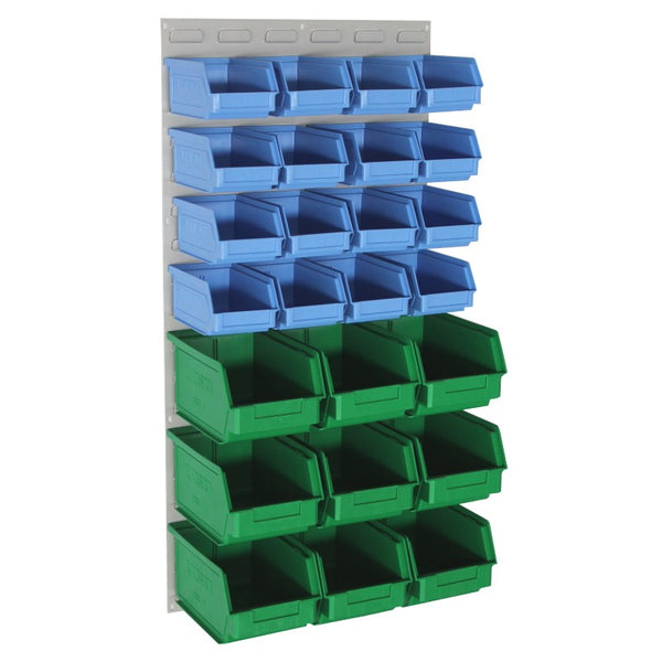 louvred panel wall with storage containers