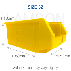 plastic storage bin size 3z yellow