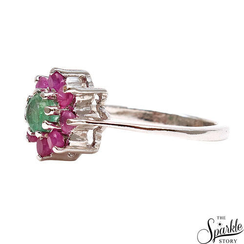Emerald With Ruby Gemstone Sterling Silver Round Shape Ring