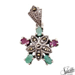 Multistone Ruby & Emerald Sterling Silver Pendant
