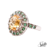 Citrine With Emerald Gemstone Sterling Silver Round Shape Ring