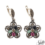 Victorian Style Ruby, Emerald & Sapphire Sterling Silver Earring