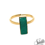 Light Green Druzy Rectangle Shape Gold Plated Open Adjustable Ring For Women and Girls