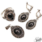 Black Onyx Sterling Silver Pendant Earring & Ring Jewelry Set