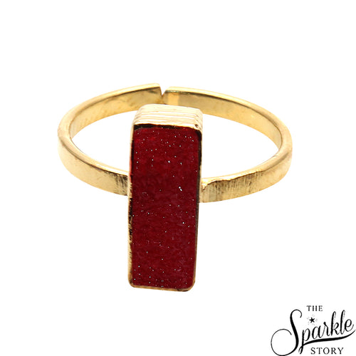Red Druzy Rectangle Shape Gold Plated Open Adjustable Ring For Women and Girls
