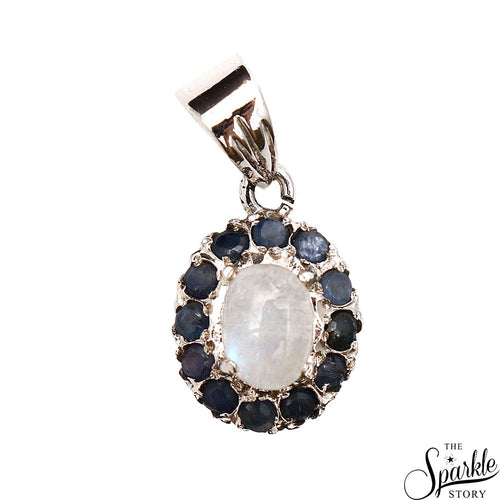 Sapphire & Rainbow Moonstone Sterling Silver Pendant Jewelry